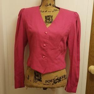 Vintage Retro 1980 Hot Pink Suit Blazer Jacket Top
